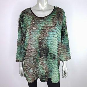 Liz & Me Green Tiered Top Plus Size 3X 26W 28W